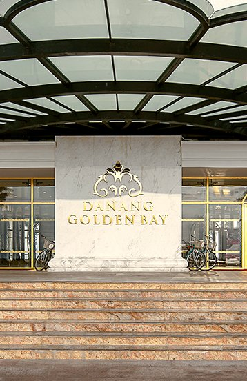 Danang Golden Bay Hotel entrance sign