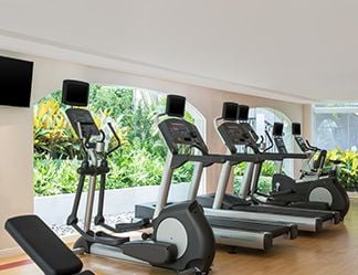 Guests have 24/7 access to the gym