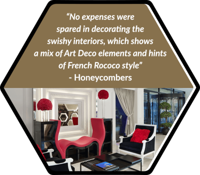 No expenses were spared in decorating the swishy interiors, which shows a mix of Art Deco elements and hints of French Rococo style.