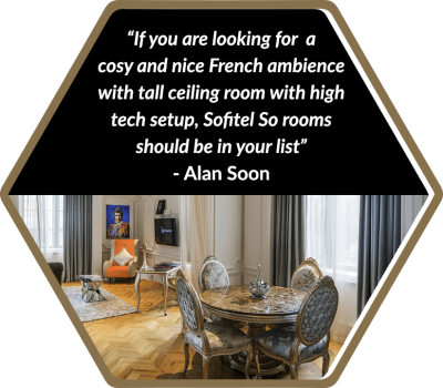 If you are looking for a cosy and nice French ambiance with tall ceiling room with high tech setup, SO Sofitel Singapore rooms should be in your list.